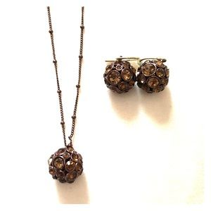 Fossil brown necklace and earrings!
